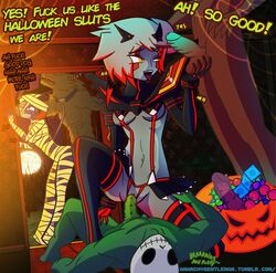 abs ahe_gao anal_beads anarchygentleman ball_fondling bestiality candy clenched_teeth clothed clothed_sex collar condom crotchless crotchless_panties demon demon_girl dildo dirty_talk eyebrow_piercing femdom from_behind gesture gloves grey_skin group handjob haunted_house high_heels highlights indoors jack-o'-lantern kill_la_kill kneeling latex leash looking_at_penis lynna matoi_ryuuko miniskirt monster_cock multiple_girls mummy night non-human one_knee orange_eyes orgy party penis riding robot robot_girl rolling_eyes senketsu sex silver_hair skin_tight skirt skull standing straight text thigh_grab thighhighs thong tongue tongue_out tricity v walk-in werewolf wolf wrapped wraps yellow_eyes zombie zoophilia