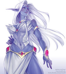 1girl armlet blue_skin breasts brown_eyes elf fantasy gem hair_intakes hand_on_hip highres jewelry large_breasts lerapi lips long_hair long_skirt necklace night_elf nose pointy_ears queen_azshara side_slit silver_hair skirt smile solo tiara warcraft white_background white_skirt world_of_warcraft