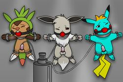3boys alternate_color anthro ball_gag blue_fur bondage bound brown_fur canine chespin eevee forced forced_orgasm furry gag gagged green_fur grey_fur hi_res jemiejemie1 machine male male_only malesub milking_machine multiple_subs nintendo orgasm original_character penis penis_milking pikachu pokémon_(species) pokemon pokemon_rgby pokemon_xy red_ball_gag rodent shiny_pokemon suction suspension tail tears testicles trimint_the_pikachu video_games yellow_fur