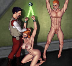 3d arms_above_head artist_request balls barefoot bondage breasts captured clothed_male_nude_female cuffs erection fellatio female femsub forced_oral gag kneeling male male_and_female_subs maledom malesub multiple_subs open_mouth_gag oral penis pussy red_hair ring_gag spread_eagle straight torn_clothes wrist_cuffs