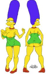 1girl alternate_version_available ass_grab big_ass big_breasts big_lips bimbo blue_hair female green_dress hands_on_ass high_heels hourglass_figure jewelry josemalvado looking_at_viewer looking_back looking_over_shoulder marge_simpson milf necklace nipple_bulge red_panties short_dress the_simpsons thick_thighs thong yellow_skin