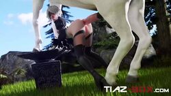 3d anal anal_penetration animal_genitalia animated anus ass erection female horse horsecock huge_cock male nier nier:_automata no_sound penetration penis sex size_difference stomach_bulge straight thighhighs tiazsfm webm yorha_2b zoophilia