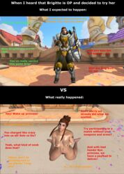 3d armor blizzard_world_(map) brigitte brown_hair embarrassed female female_only humiliation instant_loss_2koma kneeling looking_at_viewer naked overwatch ponytail public public_nudity shield solo tattoo text