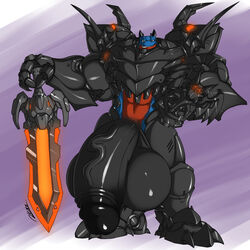 anthro armor balls big_balls clothed clothing dragon flaccid huge_balls humanoid_penis hyper hyper_balls hyper_penis looking_at_viewer male male_only melee_weapon muscular muscular_male penis retracted_foreskin rhinoking smile solo standing sword uncut vein weapon