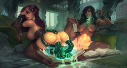 2girls anus ass biting_lip book breasts bridal_gauntlets brown_hair calm_(artist) choker consensual_tentacle_sex demon_girl female horns kneeling large_breasts long_hair magic multiple_girls navel nipples pendant pointy_ears purple_hair pussy ring sitting tentacle thighhighs vaginal_insertion vaginal_penetration wristband