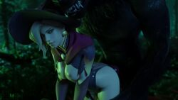 3d alternate_costume animated areolae blender bouncing_breasts breasts comandorekin female from_behind male mercy nipples no_sound overwatch sex straight webm werewolf witch_mercy zoophilia