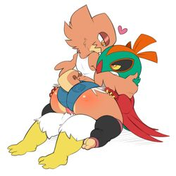 1boy 1girl 3_toes 4_fingers ass avian bare_shoulders beak big_ass big_hands buttjob claws eye_contact feet female hand_on_head hawlucha heart interspecies male muscular muscular_male nintendo nude on_top orange_eyes original_character ormtunge penis pokémon_(species) pokemon pokemon_xy shirt shorts sitting source_request straight tail tank_top thick_thighs video_games white_background wide_hips wings yellow_sclera