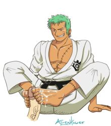 5_toes aizenhower barefoot circumcised cum cum_on_feet foot footjob gay green_hair grin male male_only one_piece penis roronoa_zoro yaoi