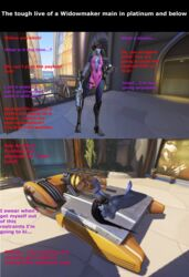 3d bondage dark_hair defeated female female_only lying naked numbani_(map) overwatch payload public public_nudity purple_skin sniper sniper_rifle solo standing text widowmaker