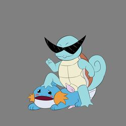 2boys all_fours amphibian black_eyes blue_skin blush erection feral foot_on_head gay half-closed_eyes interspecies male male_only mudkip nintendo on_top open_mouth penis pinned_down pokémon_(species) pokemon pokemon_rgby pokemon_rse reptile rey1119 scalie shell simple_background source_request squirtle standing sunglasses tail tapering_penis turtle veins veiny_penis video_games yaoi