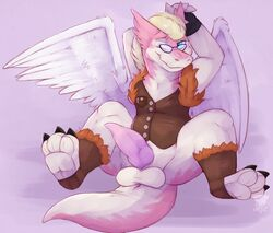 3_toes anus balls blonde_hair blue_eyes bottomless claws clothed clothing countershading dragon eyewear fur furred_dragon gay glasses hair long_tail looking_at_viewer male pawpads penis pink_fur pink_penis presenting presenting_penis shy smiz snout solo spread_legs spreading toes white_countershading wings