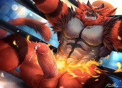 1boy 2018 abs anthro armpits ass belly big_ass big_penis big_testicles black_fur blue_background digital_media_(artwork) erection feline fire fur furry green_eyes grey_fur hi_res huge_penis humanoid_penis incineroar large_penis large_testicles looking_at_viewer looking_down male male_only mammal muscular muscular_male navel nintendo no_nipples nude orange_fur penis pokémon_(species) pokemon pokemon_sm precum precum_string rabbity red_fur sitting solo spread_arms spread_legs tail teeth testicles text thick_penis thick_thighs vein veins veiny_penis video_games watermark wet wrestling_ring yellow_sclera