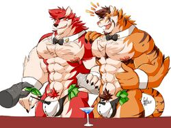 anthro bartender bow_tie bulge canine clothing daikitei duo feline flaccid humanoid_penis male male_only mammal mostly_nude muscular muscular_male open_mouth penis pubes smile standing tiger underwear wolf