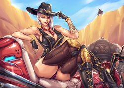 ashe_(overwatch) blizzard_entertainment bob_(overwatch) breasts crossed_legs curvy faymantra mccree omnic overwatch red_eyes red_lipstick tagme thick thighs white_hair