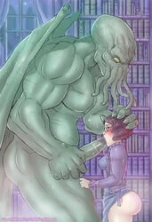 1boy 1girl 2018 5_fingers anthro anthro_penetrating_human ass big_ass big_butt big_penis black_hair blue_eyes blush book bookshelf breasts cephalopod clothing clothing_lift cthulhu cthulhu_mythos dress dress_lift duo eldritch_horror erection eyewear fellatio female female_penetrated forced forced_fellatio forced_oral glasses green_penis green_skin h.p._lovecraft hair hand_on_head head_grab huge_penis human human_on_anthro interspecies jacket larger_anthro larger_male librarian library long_penis male male_penetrating mammal marine medium_breasts muscular muscular_male night nikraria oral penis rape saliva_on_penis sex short_hair size_difference smaller_female smaller_human standing straight tears tentacle text thick_thighs veins veiny_penis vixeah_stillam watermark wide_hips window wings yellow_eyes