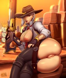 areolae ashe_(overwatch) ass breasts breasts_outside female female_only menoziriath nipples overwatch pants_down pussy solo