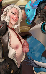 2girls android ashe_(overwatch) blue_skin breasts clothes double_paizuri echo_(overwatch) erection female hand_on_head idlecil looking_at_penis male mccree nipples omnic overwatch paizuri penis pubic_hair sandwiched sweat tagme threesome