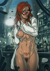 abs areolae breasts clothing curvy female female_only ganassa glasses hair katarina_alves long_hair medium_breasts mostly_nude navel nipples pubic_hair pussy red_hair solo sunglasses tattoo tekken tekken_7 video_games