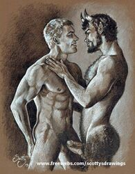 duo erection frotting gay human male/male penis satyr scottysdrawings