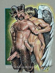 angel duo erection feathered_wings gay horn penis satyr scottysdrawings