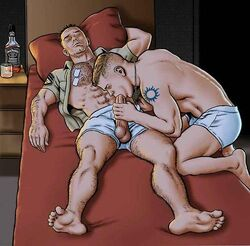 alcohol artist_request blowjob gay jack_daniels male male_only military muscle tattoo