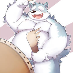 2016 anthro balls belly blush canine humanoid_hands male male_only mammal moobs musical_instrument nipples one_eye_closed overweight overweight_male park_kr simple_background solo taiko_drum wink wolf