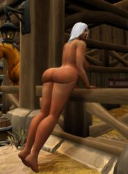 3d big_ass dark-skinned_female female pinup pose presenting_hindquarters warcraft white_hair wide_hips world_of_warcraft