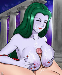 1boy blue_skin castlevania castlevania:_bloodlines cetra_blues cum cum_on_breasts cum_on_face elizabeth_bartley exposed_breasts faceless_male facial female green_hair konami large_breasts lipstick male one_eye_closed outside paizuri penis pillar red_eyes red_lipstick red_nails smile smug stone_pillars vampire white_skin wince wink