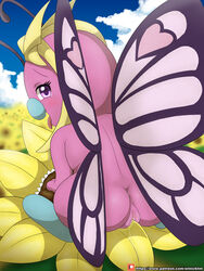 1girl 2018 absurd_res antennae ass back big_ass big_feet blue_skin blush butterfly butterfree buttershe cloud day digital_media_(artwork) eyelashes fangs feet female female_only flower grass grinding hi_res insect looking_at_viewer looking_back masturbation nintendo nude open_mouth outdoors outside patreon pink_butterfree pink_eyes pink_skin plant pokémon_(species) pokemon pokemon_rgby purple_eyes pussy pussy_juice sky smile solo sunflower teeth text tongue tongue_out url video_games watermark wet wings winick-lim