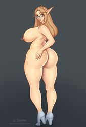 1girl areolae ass big_ass big_breasts blonde_hair blood_elf breasts eleonore elf female female_only glasses green_eyes hair high_heels huge_ass huge_breasts large_ass large_breasts legs long_hair looking_at_viewer looking_back nipples nude pointy_ears simple_background solo thick_thighs thighs video_games warcraft world_of_warcraft