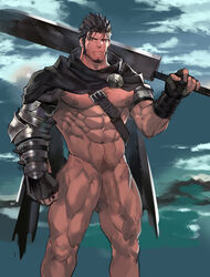 censored male_focus male_only muscular nikism nipples original pubic_hair sword uncircumcised yaoi