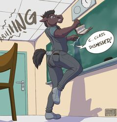 anthro biped book classroom clothing dialogue english_text equine eyewear feces filthy-d footwear glasses hair horse jeans male mammal pants scat scat school shirt shoes soiling solo speech_bubble standing text wallet