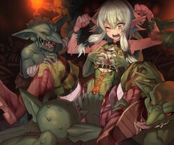 6+boys black_bow blood blush bone boots bow breast_grab censored defeated elf erection female fire goblin goblin_slayer grabbing grabbing_from_behind green_skin group_sex hairbow high_elf_archer_(goblin_slayer) licking monster mosaic_censoring multiple_boys one_eye_closed open_mouth orgy penis pointy_ears potato_(sksnabi) rape saliva sharp_teeth shorts sidelocks skeleton sleeveless solo_focus spread_legs teeth tongue tongue_out torch wrist_grab