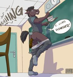 anthro anus biped book classroom clothing dialogue english_text equine eyewear feces filthy-d footwear glasses hair horse jeans male mammal pants scat scat school shirt shoes solo speech_bubble standing text wallet
