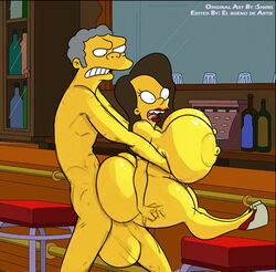 ass big_ass big_breasts big_butt breasts edit edited el_bueno_de_artie female female huge_breasts male sex shiin the_simpsons yellow_skin