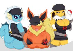 3girls :3 anthro areolae ass belt big_ass big_ears bikini blue_fur breasts cleavage closed_eyes cosplay female female_only flareon furry gigantic_breasts hat heart huge_breasts jinu jolteon large_ass large_breasts long_ears looking_at_viewer nintendo orange_fur poke_ball pokemon pokemon_rgby purple_eyes shirt skirt smile sweat tail team_rocket thick_thighs tongue tongue_out ultra_ball vaporeon white_fur wide_hips yellow_fur
