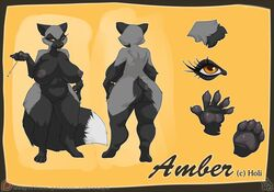 2018 4_toes 5_fingers amber_(sirholi) anthro atryl big_breasts big_tail black_fur black_nose black_pawpads breasts canine dipstick_tail eyelashes female fluffy fluffy_tail fox fur grey_fur grey_nipples handpaw hindpaw long_tail mammal model_sheet multicolored_fur multicolored_tail navel nipples nude orange_eyes patreon pawpads paws pussy signature silver_fox solo toes two_tone_fur url wide_hips