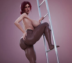 3d areolae breasts female female_only huge_breasts looking_at_viewer looking_back nipples pantyhose red_hair solo stevencarson the_witcher topless triss_merigold