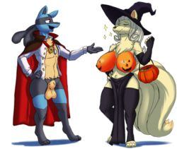1boy 1girl 2018 absurd_res animal_genitalia anthro anthrofied armwear athletic big_breasts bill_(skybluefox) blonde_hair blue_fur bottomless breasts candy canine cape cladz cloak closed_eyes clothed clothing costume deadpliss digitigrade dipstick_tail duo eating elbow_gloves feet female food fully_sheathed fur furry gloves hair halloween happy hat hi_res holidays huge_breasts jack-o'-lantern jewelry legwear loincloth lucario magic_user male mammal multi_tail multicolored_tail necklace ninetales nintendo open_mouth original_character paws pokémon_(species) pokemon pokemon_rgby pokemon_xy pokemorph ponytail red_eyes rose_(skybluefox) sheath shirt standing stockings tail testicles thick_thighs topless tuft vampire video_games voluptuous wide_hips witch witch_hat yellow_fur