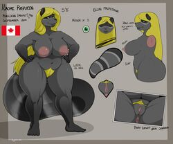 2018 anthro anus beauty_mark big_breasts blonde_hair breasts canada cutaway digital_media_(artwork) english_text female fur green_eyes grey_fur hair long_hair looking_at_viewer mammal mature_female model_sheet naomi_rasputin nightfaux nipples nude plantigrade procyonid pubes pussy raccoon side_view signature simple_background slightly_chubby smile standing text thick_thighs voluptuous wide_hips