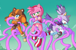 3girls alternate_version_at_source amy_rose anal anthro ayb aybr badger blaze_the_cat blue_eyes blush boots bound breast_sucking breasts brown_fur brown_hair clitoris closed_eyes clothed clothing cloud cum cum_in_ass cum_in_mouth cum_in_pussy cum_inside double_penetration dress eyelashes feline fellatio female female_only footwear forced fur gloves green_eyes group hairband half-closed_eyes hedgehog jungle_badger lactating lactation legwear lifted mammal medium_breasts milk multiple_females multiple_girls nipples one_eye_closed open_mouth oral orange_fur outside penetration pink_fur pink_hair plant purple_fur pussy rape sega sex shrub skirt sonic_(series) sonic_boom sticks_the_jungle_badger stockings sucking suspension tears tentacle tentacle_sex tongue tongue_out topless upskirt vaginal_penetration