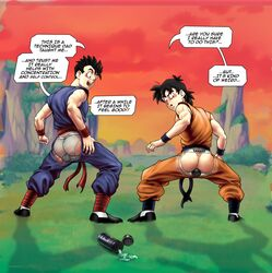 2boys anal anal_insertion ass brothers buttplug clothed clothing dialogue dragon_ball dragon_ball_z english_text jockstrap lube male male_only outdoors son_gohan son_goten transparent_clothing underwear woofer_kid wooferlicke wooferlicke_(artist) x-ray