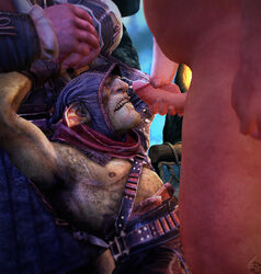 3d bound cum_on_face cumshot facial goblin green_skin handjob hands_above_head male muscular penis pinned styx_(of_orcs_and_men) styx_(video_game_series)