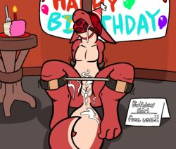 after_sex anthro ball_gag birthday blindfold cake candle crying cum cum_in_pussy cum_inside cum_on_face english_text female food forced gag hands_behind_back hat inside kobold multicolored_scales nude party_hat public_use pussy rape red_scales scales scalie shaking solo spread_legs spreader_bar spreading tears text trout_(artist) two_tone_scales