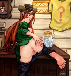anus asmo ass barefoot breasts feet freckles gravity_falls green_eyes hand_on_own_ass hat imminent_sex long_hair medium_breasts nipples no_bra no_panties nose open_shirt pants_down perky_breasts presenting presenting_hindquarters pussy red_hair soles toes wendy_corduroy