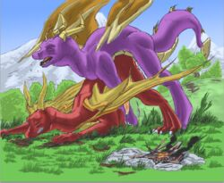 anal anal_sex ass_up claws clenched_teeth closed_eyes cum cum_inside dragon duo feral feral_on_feral fire flame_the_dragon forced from_behind_position male male/male penetration sex spade_tail spyro spyro_the_dragon teeth toe_claws video_games