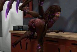 3d anal_gape anal_insertion can female high_heels kerrigan kitchen queen_of_blades solo starcraft tongue toungue_out vaginal_insertion wings