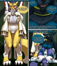 2018 3_fingers anthro assisted_exposure big_breasts black_nose black_sclera black_skin blue_eyes blue_fur blue_skin blush breasts canine clothed clothing comic covering_eyes dialogue digimon digimon_(species) doumon embarrassed english_text exposed_breasts female female/female fishnet_topwear fur furball group hair high-angle_view holding_breast huge_breasts kunarremon looking_pleasured lust lying mammal markings multicolored_fur navel nipples open_mouth outside purple_skin pussy pussy_juice red_eyes renamon sex shocked sideboob smile speech_bubble spread_legs spreading taomon text tongue top torn_clothing undressing unseen_character vaginal_penetration vulpamon yuri