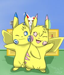 1boy 1girl 2018 alternate_color ambiguous_gender big_ears blue_background blue_eyes blue_fur eyelashes feet female feral flaccid foreskin furry long_ears looking_at_viewer male mila milachu milachu92 nintendo notch notchu original_character paws penis pikachu pink_eyes pink_fur plushie pokémon_(species) pokemon pokemon_rgby pokemon_rse pussy rodent tail testicles text v video_games watermark white_fur wink yellow_fur zangoose
