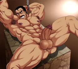 1boy abs armpits arms_up bara big_penis bulge chains erection forced forced_yaoi gay imminent_rape looking_at_viewer male male_focus male_only manboobs muscles muscular nude on_back penis restrained rybiok spread_legs testicles thick_thighs thighs yaoi